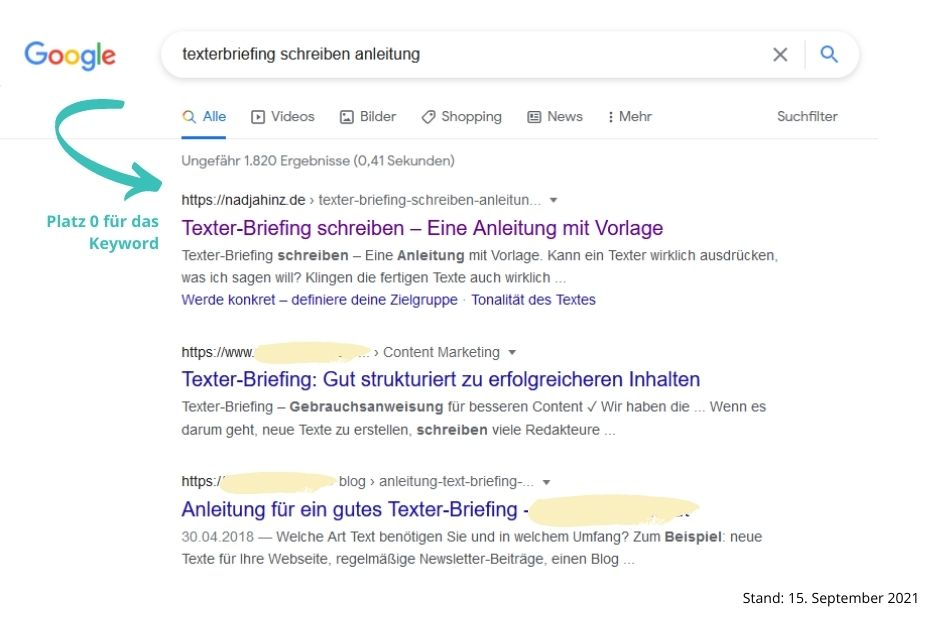 Blogartikel schreiben lassen Screenshot Google